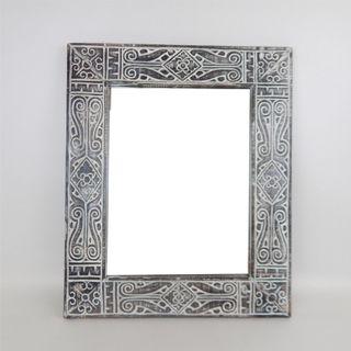 Mirror Tribal Whitewash 50cm x 60cm high