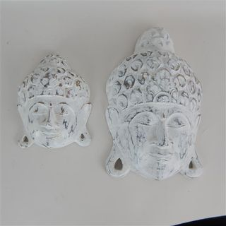 Buddha Heads s/2 Whitewash12x15cm/16x26cm high
