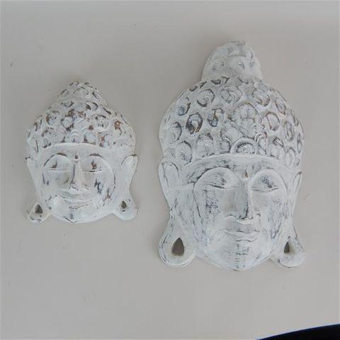 Buddha Heads s/2 Whitewash12x15cm/16x26cm high