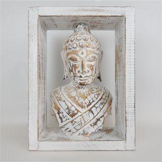 Buddha in Frame Whitewash 26cm x 35cm h x 10cm deep