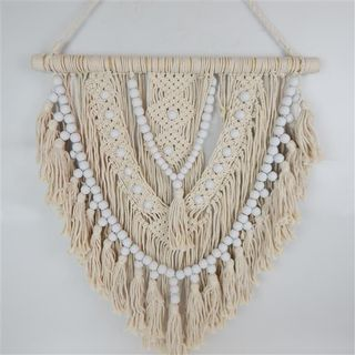 Macrame Beaded Hanging White/Cream 60cm x 70cm high