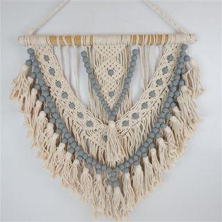 Macrame Beaded Hanging Grey/Cream 60cm x 70cm high