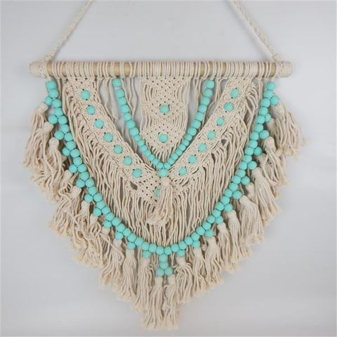 Macrame Beaded Hanging Aqua/Cream 60cm x 70cm high