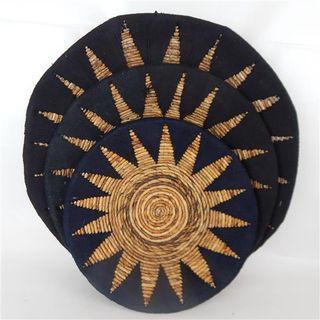 Etta Tribal Wall Plates s/3 Black 40cm/50cm/60cm dia