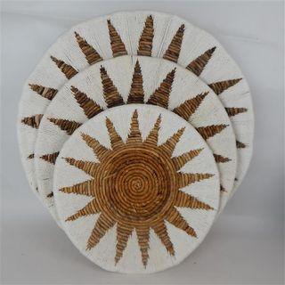 Etta Tribal Wall Plates s/3 White 40cm/50cm/60cm dia
