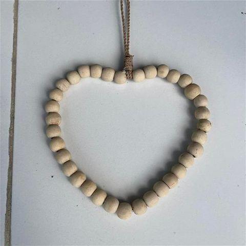 Beaded Heart Natural 22cm x 22cm high