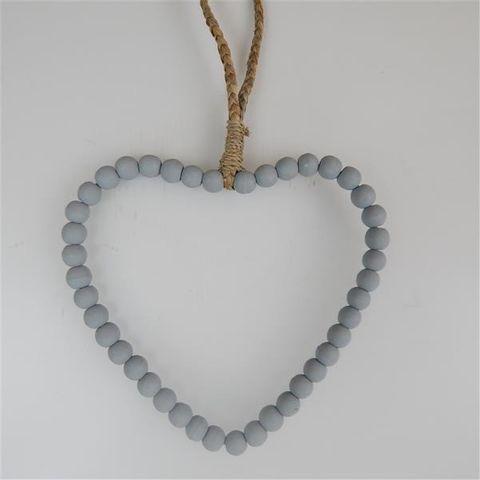 Beaded Heart Grey 22cm x 22cm high