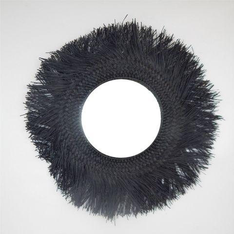 Woven Mirror Black 75cm/30cm dia