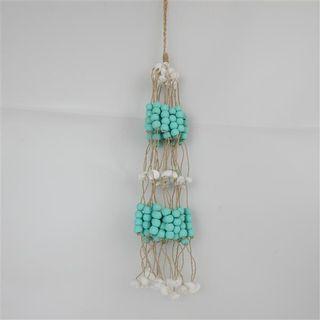 Bead/Shell Hanging Bundle Aqua 45cm long