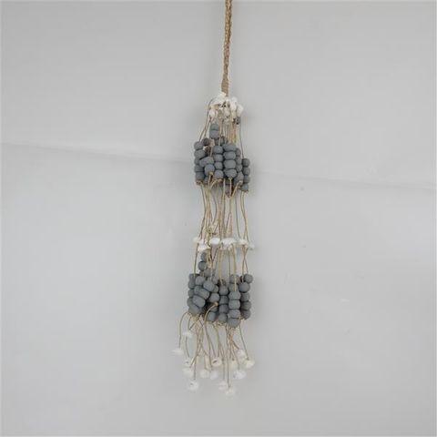 Bead/Shell Hanging Bundle Grey 45cm long