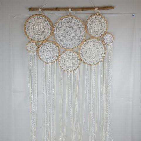 Boho Multi Ring Dreamcatcher Cream 90cm x 150cm long