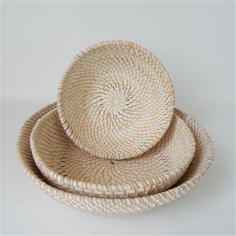 Lombok Bowls s/3 Whitewash 20cm/25cm/30cm dia