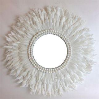 Plume Feather Mirror White 60cm