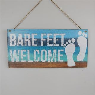 Wall Sign 'Barefeet Welcome' Aquas 40cm x 20cm high