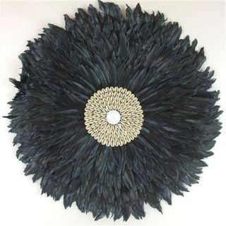 Feather Circle Black 65cm dia