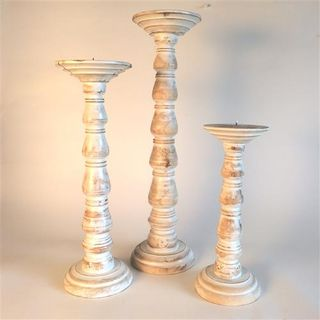 Blip Candlesticks s/3 Whitewash 30cm/40cm/50cm high