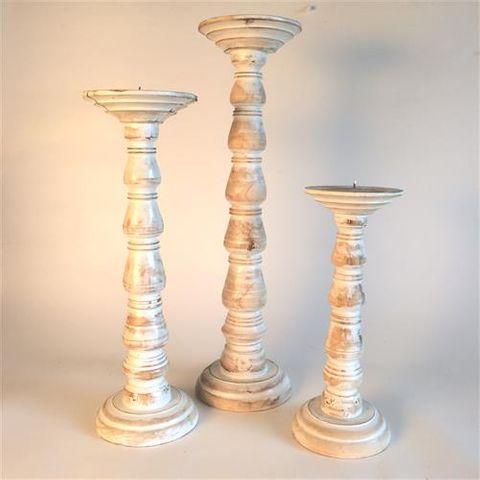 Blip Candlesticks s/3 Whitewash 30cm/40cm/50cm high