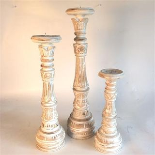 Ornamental Candlesticks s/3 Whitewash 30cm/40cm/50cm high