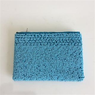 Beaded Coin Purse Aqua 10cm x 14cm