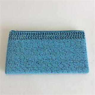 Beaded Wallet Aqua 22cm x 12cm