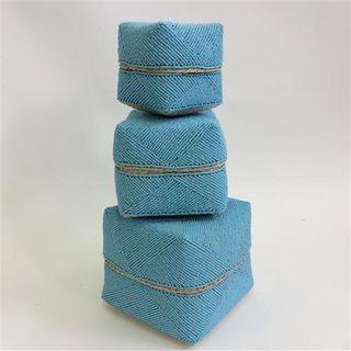 Jantan Beaded Boxes s/3 Blue 10cm/13cm/16cm