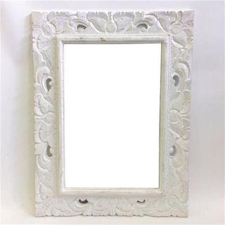 Scroll Mirror Small Frame Whitewash 60cm x 80cm