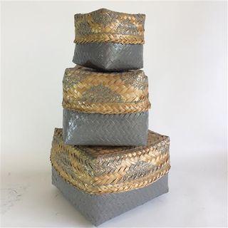 Jantan Ceremonial Baskets s/3 Grey/Nat 20x14h / 17x12h / 11x9h