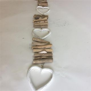 Driftwood Strand Hollow Heart 3 Whitewash 80cm long