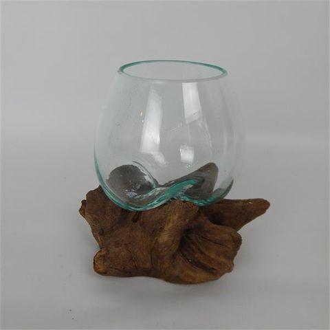 Driftwood Tear Glass Vase Sml Approx 12cm dia