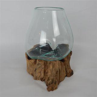 Driftwood Tear Glass Vase Med Approx 18cm dia