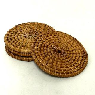 Lombok Coaster s/4 Antik Brown 10cm dia