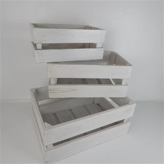 Crates s/3 Whitewash 21x38/28x45/37x52cm