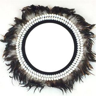 Kora Feather Mirror Black 70cm dia