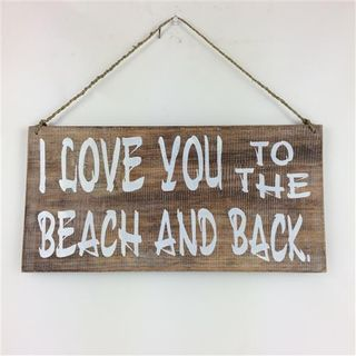 "Boho SIgn ""I love you to the Beach"" Nat/White 40cm x 20cm"