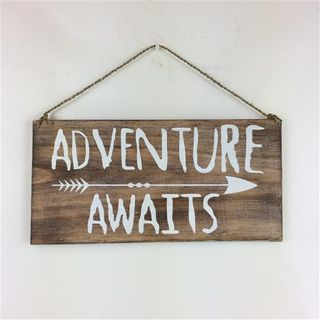 "Boho SIgn ""Adventure Awaits"" Nat/White 40cm x 20cm"