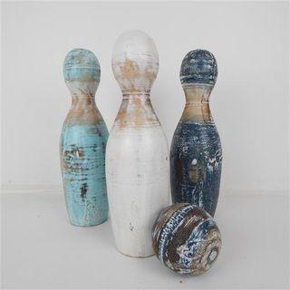 Wooden Bowling Pins w Ball 30cm high
