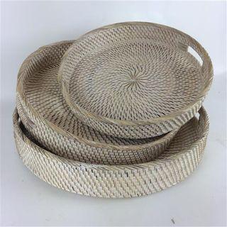 Lombok Round Trays s/3 Whitewash 35cm/40cm/45cm