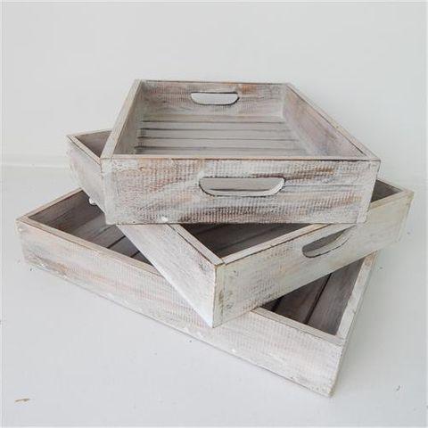 Slat Trays s/3 Whitewash 7x18x30 / 7x23x35 / 7x30x40cm