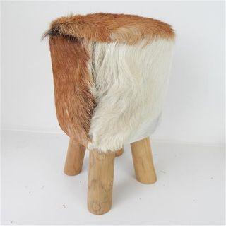 Gruff Goat Skin Stool 30cm x 45cm high