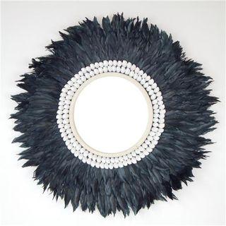 Plume Feather Mirror Black 60cm
