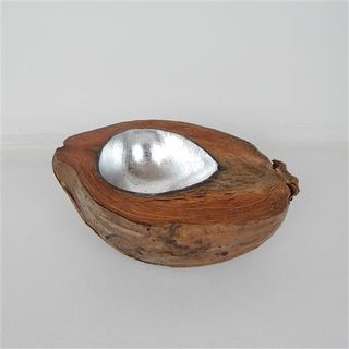 Coconut Bowl Large Silver Approx 22cm x 20cm