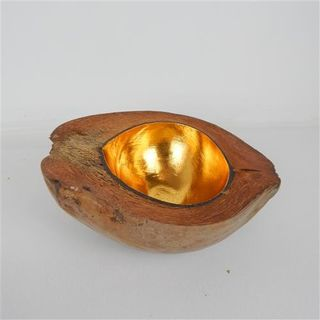 Coconut Bowl Large Gold Approx 22cm x 20cm