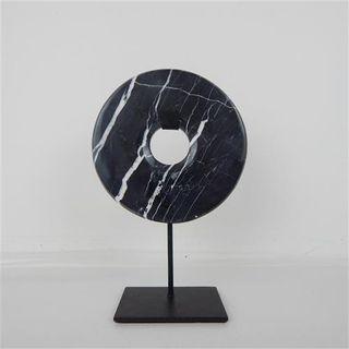Marble Circle on Stand Black 15cm x 30cm high