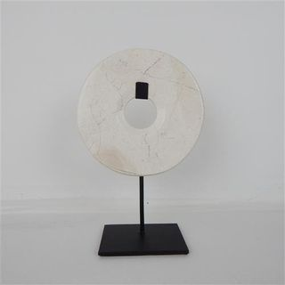 Marble Circle on Stand White/Grey 15cm x 30cm high