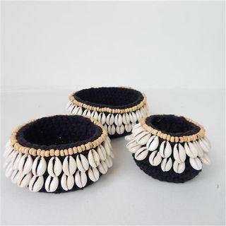 Macrame & Shell Bowls Small s/3 Black 8/10/15cm dia