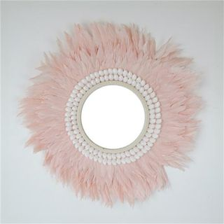Plume Feather Mirror Pale Pink 50cm dia