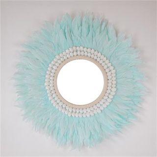 Plume Feather Mirror Light Aqua 50cm dia