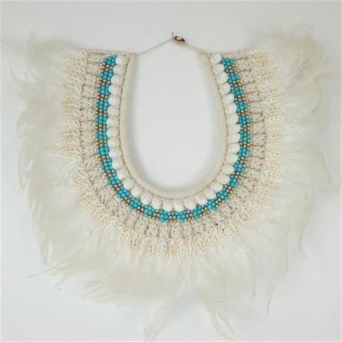 Valia Necklace Aqua/White 45cm x 40cm high