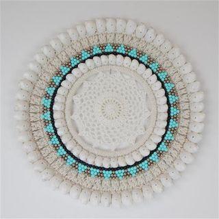 Valia Macrame Circle Aqua/White 35cm dia