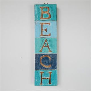 Beach Block Sign Blues 14cm x 50cm high